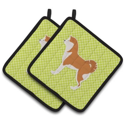 Akita Pot Holders - Green (Pair)