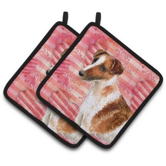 Smooth Fox Terrier Pot Holders - Love (Pair)