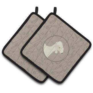 Bedlington Terrier Pot Holders - Classy Kitchen (Pair)