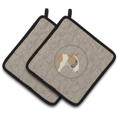 Bull Terrier Pot Holders (Fawn White) - Classy Kitchen (Pair)