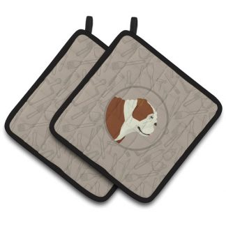 Bulldog Pot Holders - Classy Kitchen (Pair)