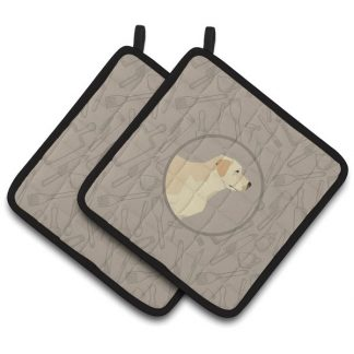 Yellow Lab Pot Holders - Classy Kitchen (Pair)