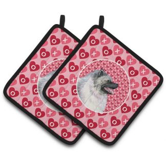 Keeshond Pot Holders - Hearts (Pair)