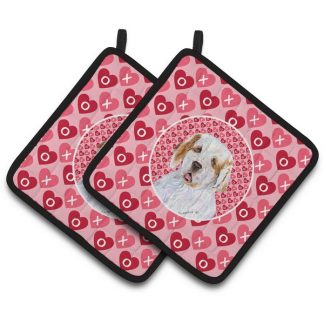 Clumber Spaniel Pot Holders - Hearts (Pair)