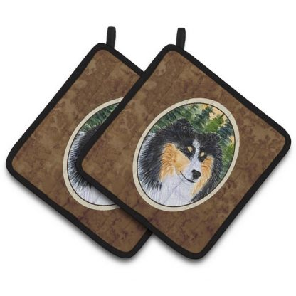 Tri Shetland Sheepdog Pot Holders (Pair)