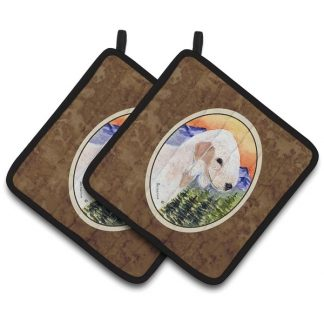 Bedlington Terrier Pot Holders (Pair)