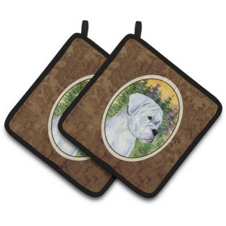 Boxer Pot Holders - White (Pair)