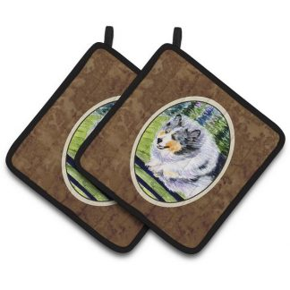 Blue Merle Shetland Sheepdog Pot Holders (Pair)