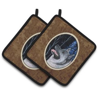 Norwegian Elkhound Pot Holders (Pair)