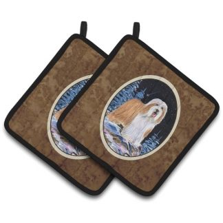 Bearded Collie Pot Holders II (Pair)