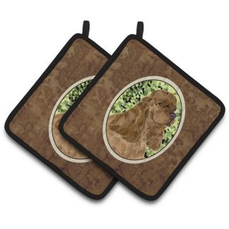 Chocolate Cocker Spaniel Pot Holders (Pair)