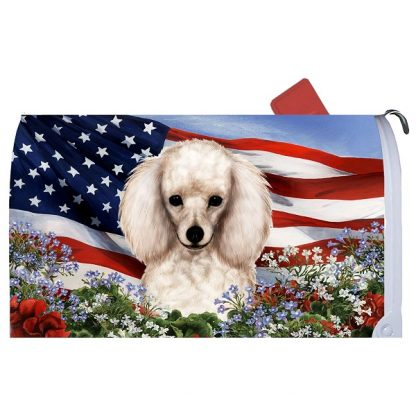 White Poodle Mail Box Cover - USA