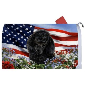 Black Poodle Mail Box Cover - USA