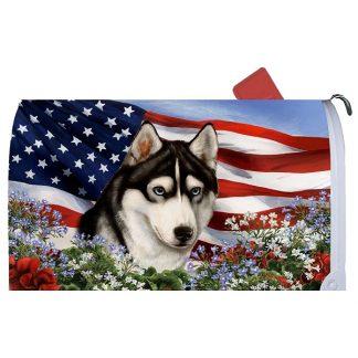 Siberian Husky Mail Box Cover - USA (Black)