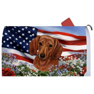 Dachshund Mail Box Cover - USA (Red)