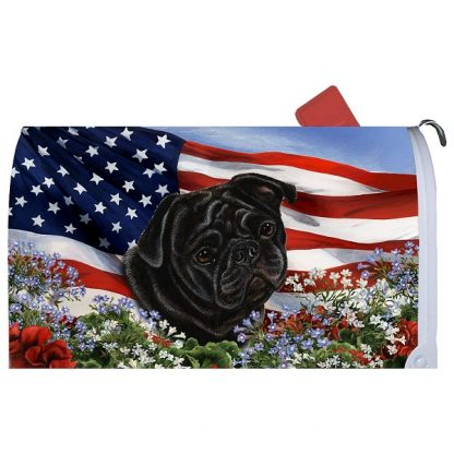 Pug Mail Box Cover - USA (Black)