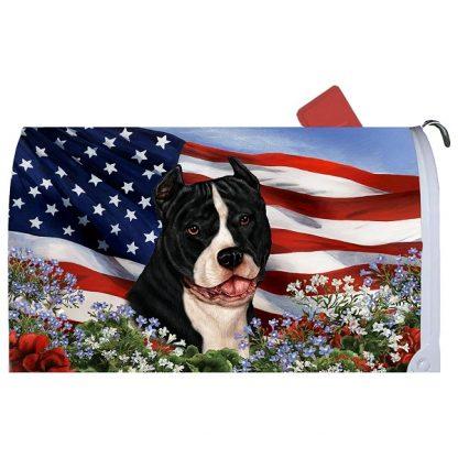 Pitbull Terrier Mail Box Cover - USA (Black White)