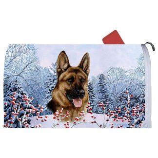 German Shepherd Mail Box Cover - Winter Berries