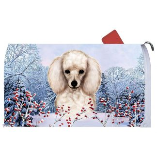White Poodle Mail Box Cover - Winter Berries