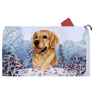 Golden Retriever Mail Box Cover - Winter Berries