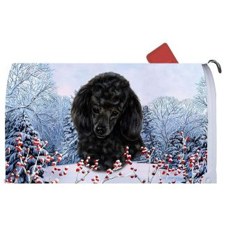 Black Poodle Mail Box Cover - Winter Berries