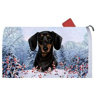 Dachshund Mail Box Cover - Winter Berries (Black & Tan)