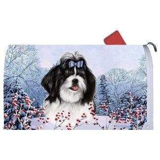 Shih Tzu Mail Box Cover - Winter Berries (Black)