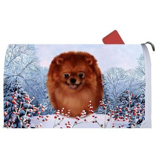 Pomeranian Mail Box Cover - Winter Berries