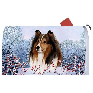 Shetland Sheepdog Mail Box Cover - Winter Berries