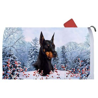Doberman Pinscher Mail Box Cover - Winter Berries
