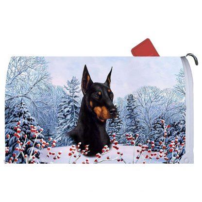 Doberman Pinscher Mail Box Cover - Winter Berries