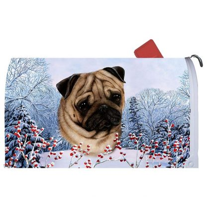 Pug Mail Box Cover - Winter Berries