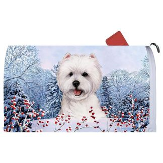 West Highland Terrier Mail Box Cover - Winter Berries