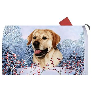 Yellow Lab Mail Box Cover - Winter Berries