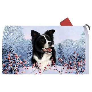 Border Collie Mail Box Cover - Winter Berries
