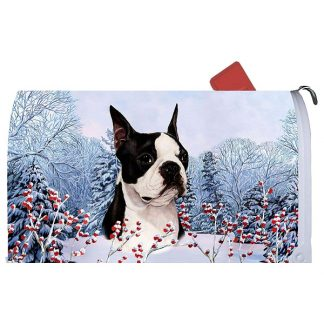 Boston Terrier Mail Box Cover - Winter Berries