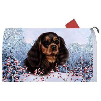 Black & Tan Cavalier Spaniel Mail Box Cover - Winter Berries