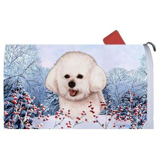 Bichon Frise Mail Box Cover - Winter Berries