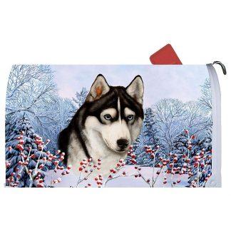 Siberian Husky Mail Box Cover - Winter Berries (Black)