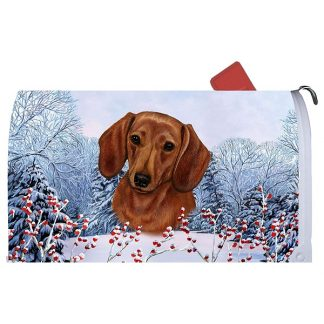 Dachshund Mail Box Cover - Winter Berries (Red)