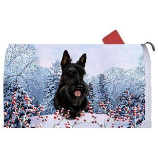 Scottish Terrier Mail Box Cover - Winter Berries