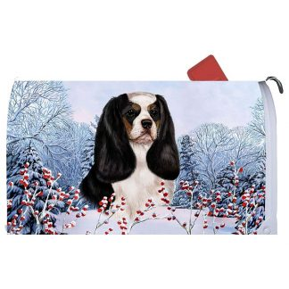 Tri Cavalier Spaniel Mail Box Cover - Winter Berries