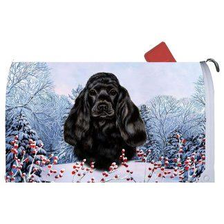 Black Cocker Spaniel Mail Box Cover - Winter Berries