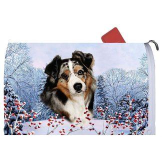 Australian Shepherd Mail Box Cover - Winter Berries