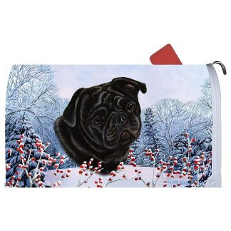 Pug Mail Box Cover - Winter Berries (Black)