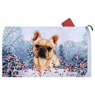 French Bulldog Mail Box Cover - Winter Berries (Cream)