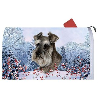 Schnauzer Mail Box Cover - Winter Berries (Uncropped)