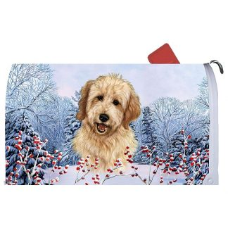 Goldendoodle Mail Box Cover - Winter Berries (Blonde)