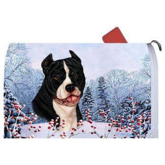 Pitbull Terrier Mail Box Cover - Winter Berries (Black White)
