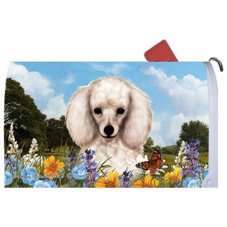 White Poodle Mail Box Cover